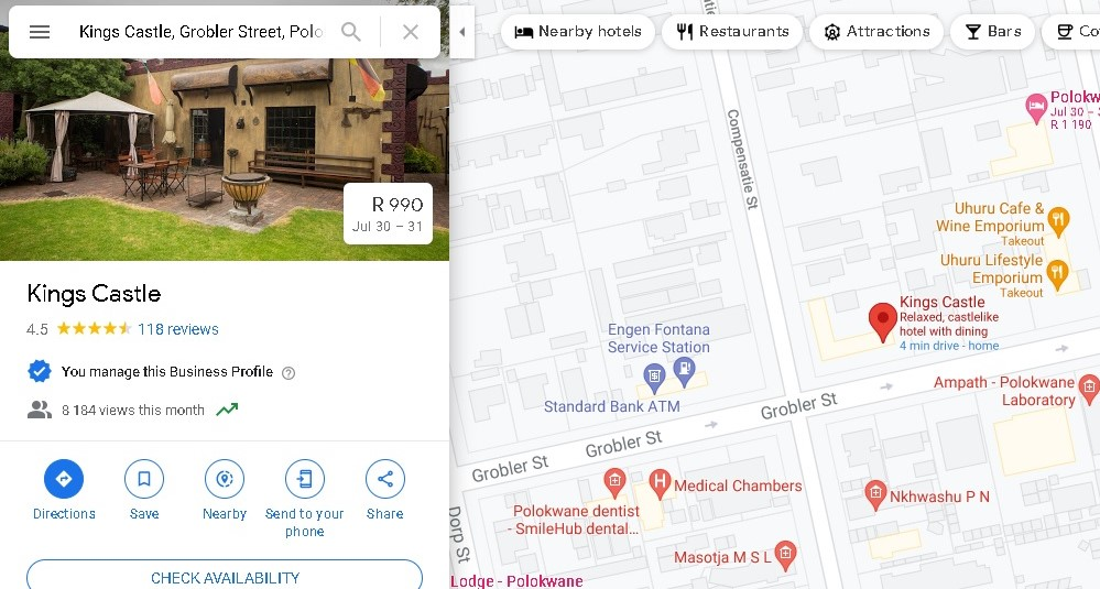 Screenshot of King's Castle's location in Polokwane on Google Maps